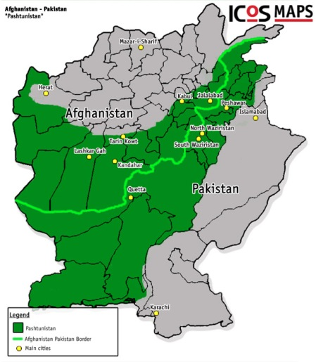 The Green Area is Pashtunistan (2007 map)  The Green line is the Durand Line with a small change since 1893