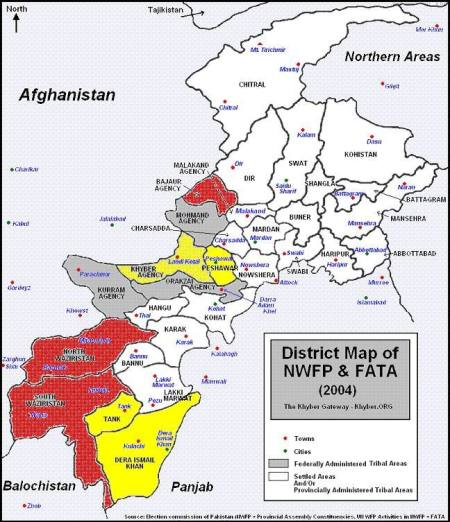 North and South Waziristan (in Red, bottom left), source Election Commission of Pakistan