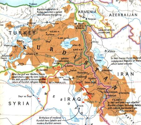 What Kurdistan borders should look like; Part of Turkey; Syria; Iran, and Iraq would be added to its current small piece of Iraq